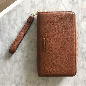 Rebecca Minkoff camel leather smart phone wallet